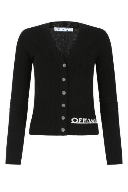 Black viscose blend cardigan