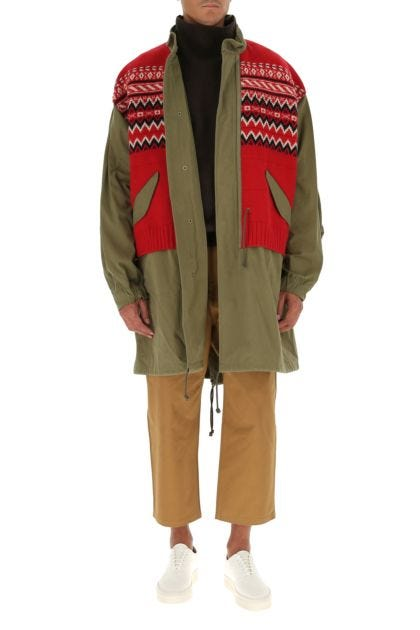 Multicolor cotton and wool coat