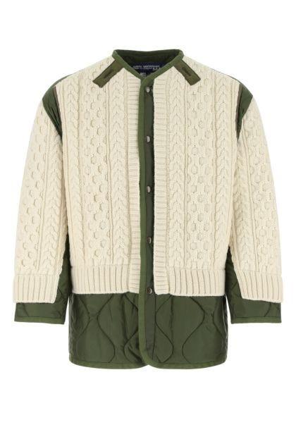 Two-tone nylon and wool padded jacket