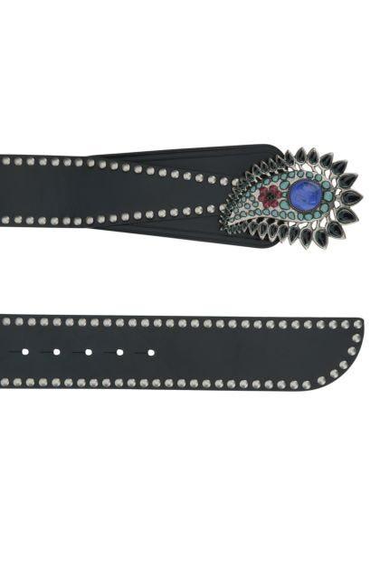 Black leather Aliette belt