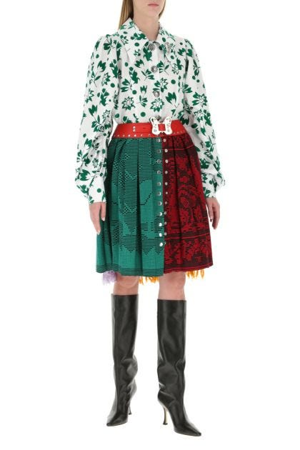 Multicolor cotton and wool skirt