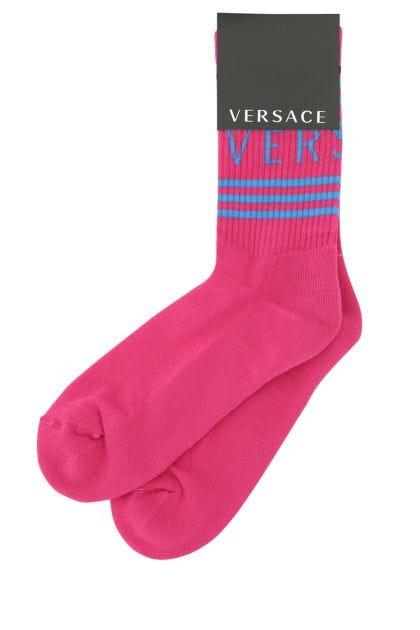 Fuchsia stretch cotton blend socks