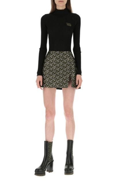 Embroidered polyester mini skirt