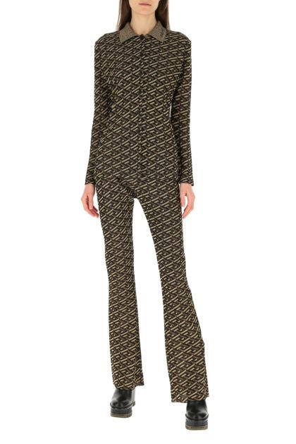 Embroidered stretch viscose blend pant