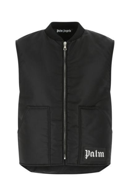 Black nylon blend padded sleeveless jacket