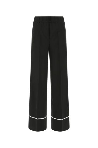 Black stretch polyester blend palazzo pant