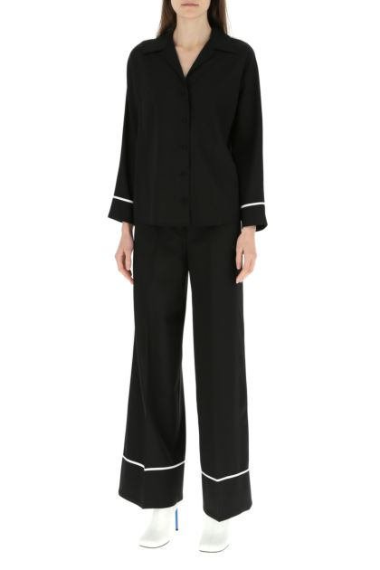 Black stretch polyester blend shirt
