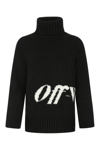Black wool blend oversize sweater