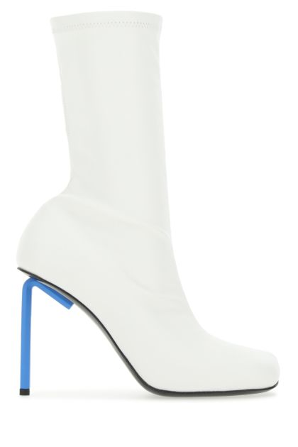 White synthetic leather Allen boots