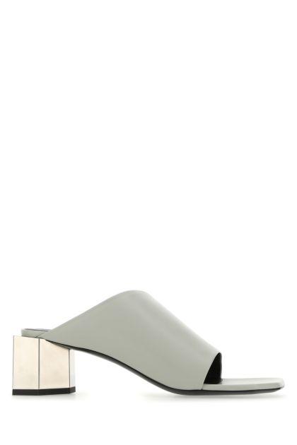 Grey nappa leather Hexnut mules