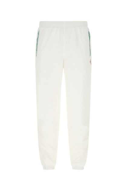 White polyester joggers