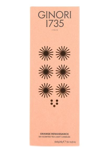 Orange Renaissance tea light scented candles set