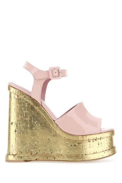 Pastel pink leather Lacquer Doll wedges