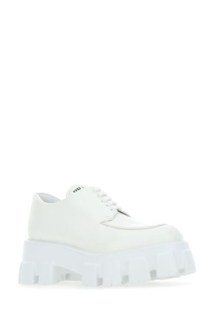 White leather Monolith lace-up shoes