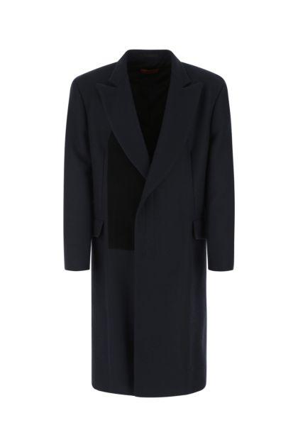 Blue wool blend coat
