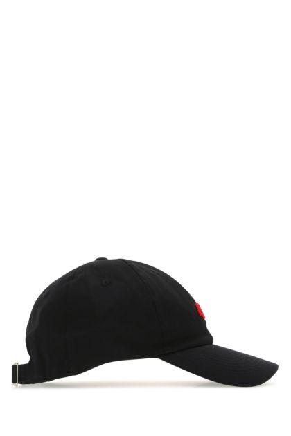 Black fabric baseball cap