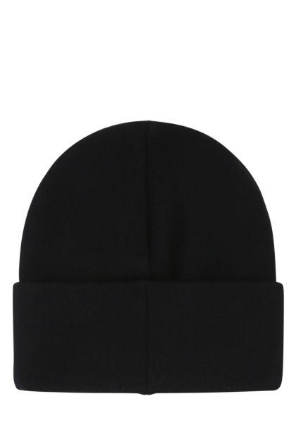 Black viscose blend beanie hat