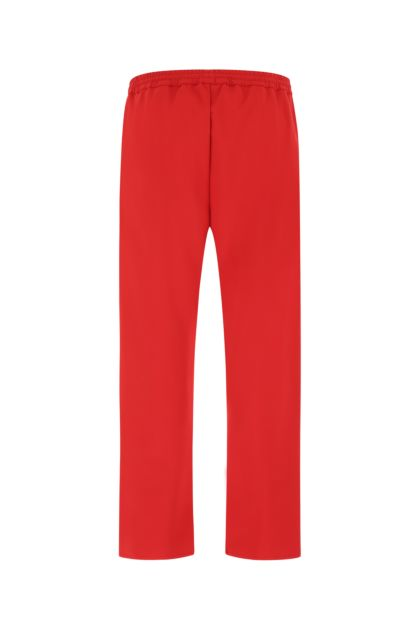 Red polyester joggers
