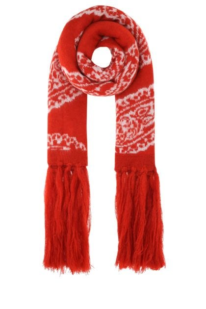 Embroidered acrylic blend scarf