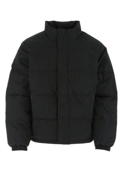 Black cotton blend down jacket