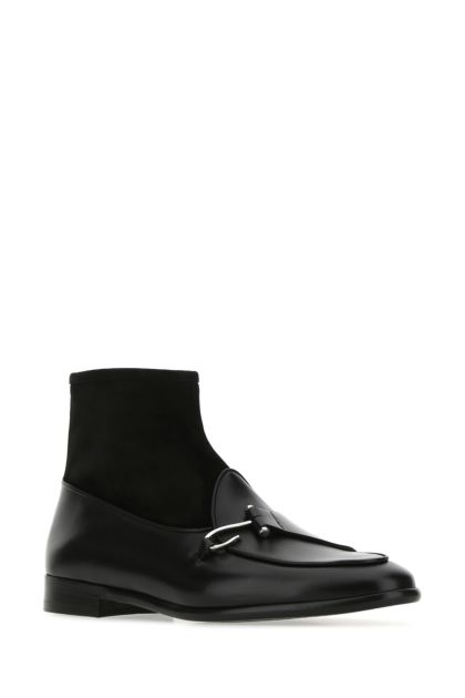 Black leather and suede Comporta ankle boots