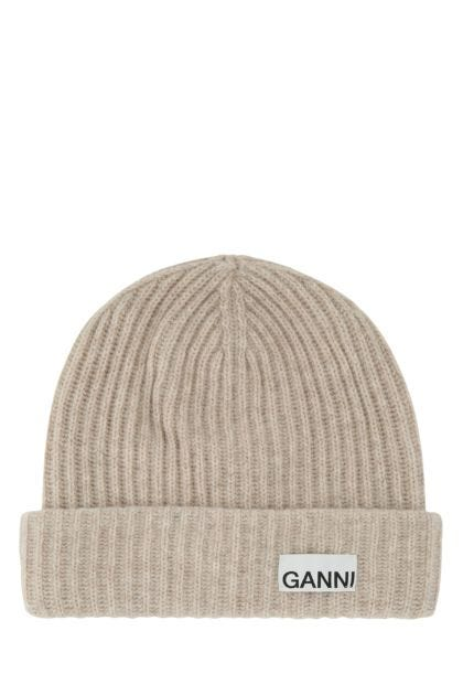 Sand recycled wool beanie hat