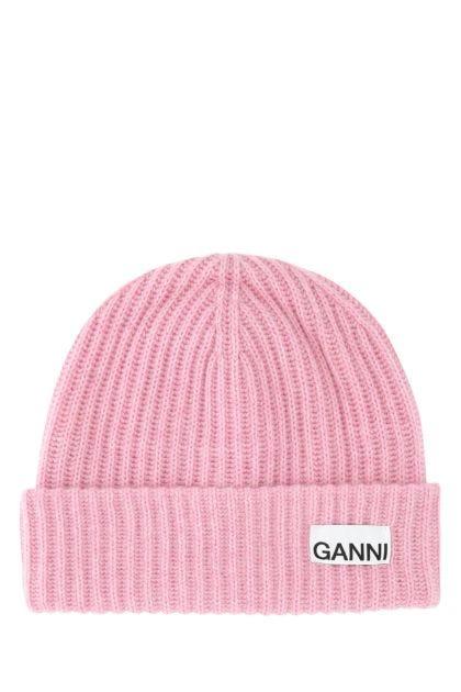 Pink wool blend beanie hat