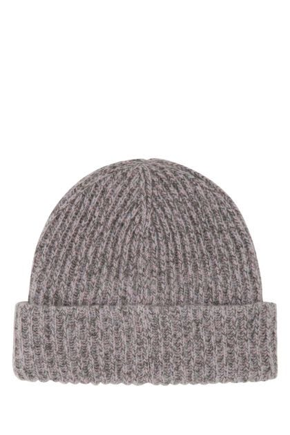 Embroidered recycled wool beanie hat